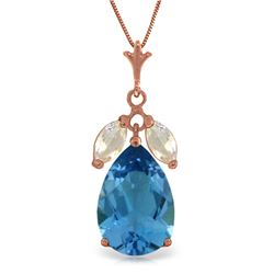 Genuine 6.5 ctw Blue Topaz & White Topaz Necklace Jewelry 14KT Rose Gold - REF-38Y2F