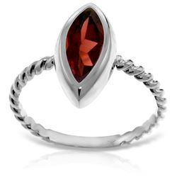 Genuine 2 ctw Garnet Ring Jewelry 14KT White Gold - REF-39M3T