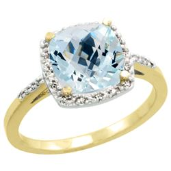 Natural 3.92 ctw Aquamarine & Diamond Engagement Ring 10K Yellow Gold - REF-49Y7X