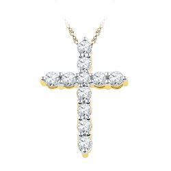 0.33 CTW Diamond Cross Pendant 10KT Yellow Gold - REF-26X9Y
