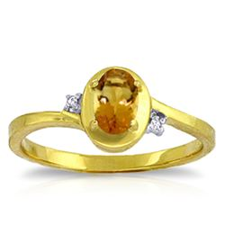 Genuine 0.51 ctw Citrine & Diamond Ring Jewelry 14KT Yellow Gold - REF-25M4T