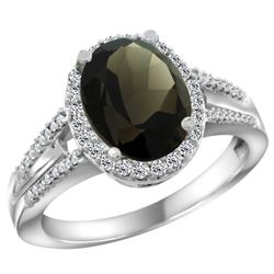 Natural 2.72 ctw smoky-topaz & Diamond Engagement Ring 14K White Gold - REF-54A4V