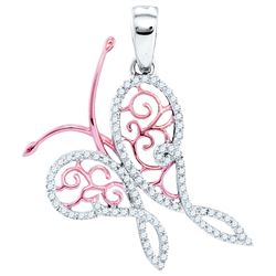 0.20 CTW Pave Diamond Butterfly Bug Pendant 10KT White Gold - REF-24Y2X