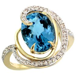 Natural 6.53 ctw london-blue-topaz & Diamond Engagement Ring 14K Yellow Gold - REF-75Y3X