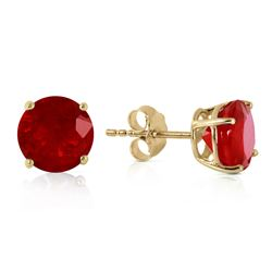 Genuine 4.5 ctw Ruby Earrings Jewelry 14KT Yellow Gold - REF-40X7M