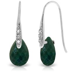 Genuine 8.06 ctw Created Green Sapphire & Diamond Earrings Jewelry 14KT White Gold - REF-60K3V
