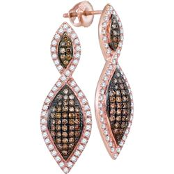1 CTW Cognac-brown Color Diamond Oval Dangle Earrings 10KT Rose Gold - REF-64F4N