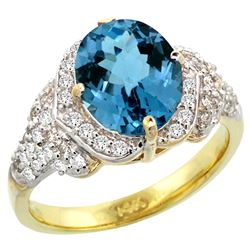 Natural 2.92 ctw london-blue-topaz & Diamond Engagement Ring 14K Yellow Gold - REF-103Y2X