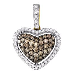 0.45 CTW Cognac-brown Color Diamond Heart Love Pendant 10KT Yellow Gold - REF-26W9K