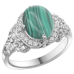 Natural 3.27 ctw malachite & Diamond Engagement Ring 14K White Gold - REF-100Y7X