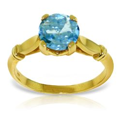 Genuine 1.15 ctw Blue Topaz Ring Jewelry 14KT Yellow Gold - REF-51W4Y