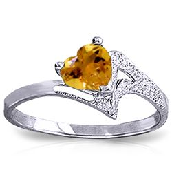 Genuine 0.95 ctw Citrine Ring Jewelry 14KT White Gold - REF-36W3Y