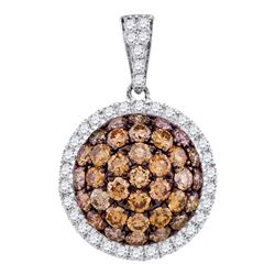 1.54 CTW Cognac-brown Color Diamond Circle Cluster Pendant 10KT White Gold - REF-67F4N