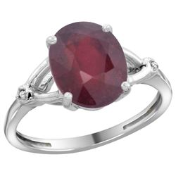 Natural 3.65 ctw Ruby & Diamond Engagement Ring 10K White Gold - REF-29G7M