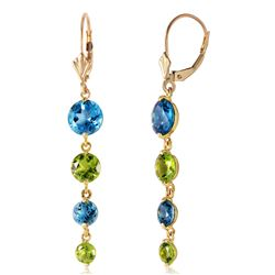 Genuine 7.8 ctw Peridot & Blue Topaz Earrings Jewelry 14KT Yellow Gold - REF-46N3R