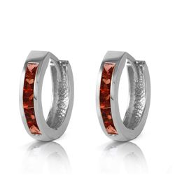 Genuine 1.30 ctw Garnet Earrings Jewelry 14KT White Gold - REF-37M7T