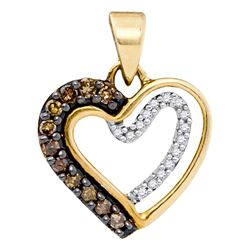 0.20 CTW Cognac-brown Color Diamond Heart Love Pendant 10KT Yellow Gold - REF-10X5Y