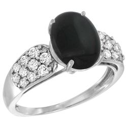 Natural 1.9 ctw onyx & Diamond Engagement Ring 14K White Gold - REF-56X2A