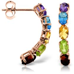 Genuine 2.5 ctw Multi-gemstone Earrings Jewelry 14KT Rose Gold - REF-37Y4F