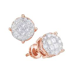 0.50 CTWPrincess Diamond Soleil Cluster Earrings 14KT Rose Gold - REF-52N4F