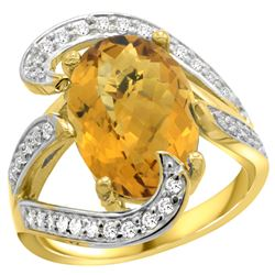 Natural 6.22 ctw quartz & Diamond Engagement Ring 14K Yellow Gold - REF-129W4K
