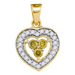 0.33 CTW Yellow Color Diamond Heart Pendant 10KT Yellow Gold - REF-19N4F