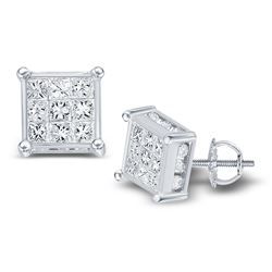 1.52 CTW Princess Diamond Square Cluster Stud Earrings 14KT White Gold - REF-89M9H