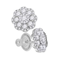 1 CTW Diamond Cluster Earrings 14KT White Gold - REF-97W4K