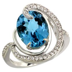 Natural 6.53 ctw london-blue-topaz & Diamond Engagement Ring 14K White Gold - REF-75R3Z