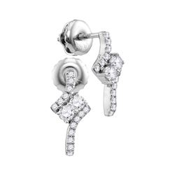 0.25 CTW Diamond 2-stone Earrings 14KT White Gold - REF-26K3W