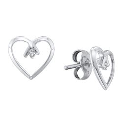 0.02 CTW Diamond Solitaire Heart Stud Earrings 10KT White Gold - REF-9K7W