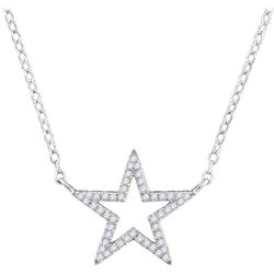 0.12 CTW Diamond Star Outline Pendant 10KT White Gold - REF-16Y4X