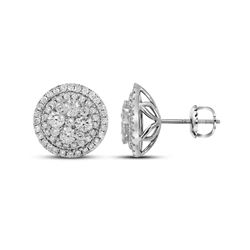 1.68 CTW Diamond Flower Cluster Earrings 14KT White Gold - REF-179H9M