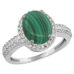 Natural 2.56 ctw Malachite & Diamond Engagement Ring 14K White Gold - REF-39F7N