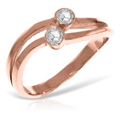 Genuine 0.20 ctw Diamond Anniversary Ring Jewelry 14KT Rose Gold - REF-63X3M