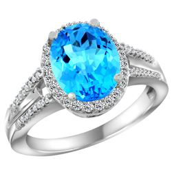 Natural 2.72 ctw swiss-blue-topaz & Diamond Engagement Ring 10K White Gold - REF-45Z3Y