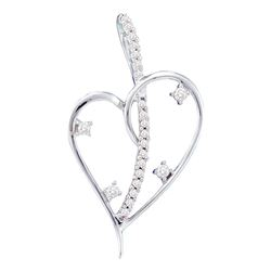 0.20 CTW Diamond Wire Heart Love Pendant 14KT White Gold - REF-22K4W