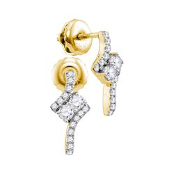 0.25 CTW Diamond 2-stone Earrings 14KT Yellow Gold - REF-26X3Y