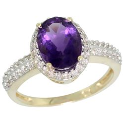 Natural 1.91 ctw Amethyst & Diamond Engagement Ring 14K Yellow Gold - REF-41K3R