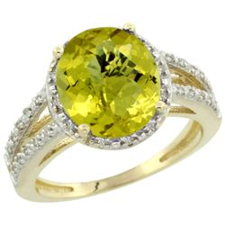 Natural 3.47 ctw Lemon-quartz & Diamond Engagement Ring 14K Yellow Gold - REF-45H3W