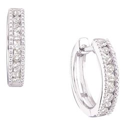 0.25 CTW Diamond Milgrain Hoop Earrings 10KT White Gold - REF-22M4H