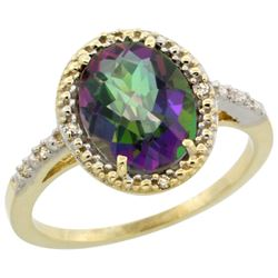 Natural 2.42 ctw Mystic-topaz & Diamond Engagement Ring 10K Yellow Gold - REF-25X5A