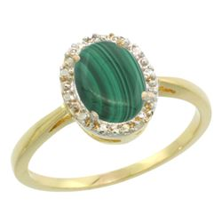 Natural 1.69 ctw Malachite & Diamond Engagement Ring 14K Yellow Gold - REF-25G6M