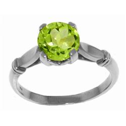 Genuine 1.15 ctw Peridot Ring Jewelry 14KT White Gold - REF-51N4R