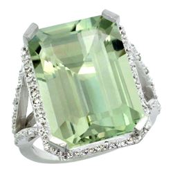 Natural 13.72 ctw green-amethyst & Diamond Engagement Ring 14K White Gold - REF-81M3H