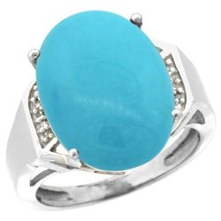 Natural 11.02 ctw Turquoise & Diamond Engagement Ring 10K White Gold - REF-79H6W