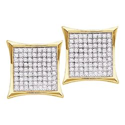 0.15 CTW Diamond Square Cluster Earrings 14KT Yellow Gold - REF-11N2F