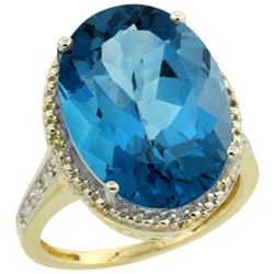 Natural 13.6 ctw London-blue-topaz & Diamond Engagement Ring 10K Yellow Gold - REF-64F7N