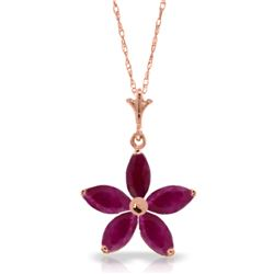 Genuine 1.40 ctw Ruby Necklace Jewelry 14KT Rose Gold - REF-30Z7N
