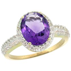 Natural 2.56 ctw Amethyst & Diamond Engagement Ring 14K Yellow Gold - REF-42R2Z